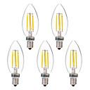 preiswerte Lagerung und Organisation-BRELONG® 5 Stück 4W 350lm E14 LED Glühlampen C35 4 LED-Perlen COB Warmes Weiß Weiß 220-240V