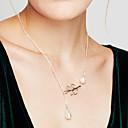 preiswerte Halsketten-Damen Anhängerketten / Perlenkette - Perle, Künstliche Perle Blattform Quaste, Grundlegend, Modisch Silber Modische Halsketten Für Party, Geschäft, Alltag