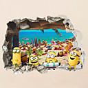 hesapli Duvar Sanatı-Manzara Hayvanlar 3D Duvar Etiketler Uçak Duvar Çıkartmaları 3D Duvar Çıkartması Dekoratif Duvar Çıkartmaları 3D, Plastik Ev dekorasyonu
