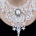 preiswerte Broschen-Damen Halsketten / Anhängerketten / Statement Ketten - Künstliche Perle Blume Einzigartiges Design, Anhänger Stil, Klassisch Weiß Modische Halsketten Für Weihnachten, Hochzeit, Party