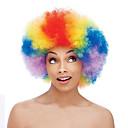 baratos Maquiagem & Produtos para Unhas-Perucas sintéticas / Perucas de Fantasia Encaracolado Cabelo Sintético Peruca Afro Americanas Vermelho Peruca Médio Sem Touca Arco-Íris