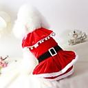 hesapli Pet Noel Kostümleri-Kedi Köpek Kostümler Paltolar Elbiseler Noel Köpek Giyimi Solid Kırmzı Peluş Kumaş Cotton/Linen Blend Kostüm Evcil hayvanlar için Parti