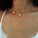 hesapli Kemerler-Kadın's Katmanlı katmanlı Kolyeler - MOON Moda, Çoklu Katman Altın, Gümüş Kolyeler Mücevher Uyumluluk Parti