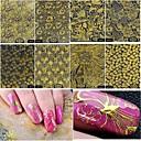 baratos Maquiagem & Produtos para Unhas-8 pcs Decalques de unha Etiquetas e Fitas / Etiqueta da folha / Adesivo de unha Ferramenta de arte de unhas
