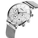hesapli Erkek Saatleri-Erkek Moda Saat Gündelik Saatler Quartz Takvim Kronometre Paslanmaz Çelik Bant Lüks Günlük Havalı Siyah Gümüş