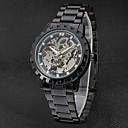 ieftine Ceasuri Bărbați-WINNER Bărbați Ceas Elegant  Ceas de Mână ceas mecanic Mecanism automat Gravură scobită Oțel inoxidabil Bandă Lux Vintage Negru