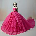 hesapli Barbie Bebek Kıyafetleri-Elbiseler Elbise İçin Barbie Bebek Gül Kırmızısı Dantel organza Elbise İçin Kız Oyuncak bebek