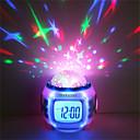 hesapli Yenilikçi LED Işıklar-1 adet çalar saat gökyüzü projektör nightlight renkli aaa piller çocuklar için renk değiştiren doğum günü başucu pil