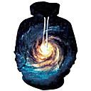 رخيصةأون كنزات هودي رجالي-رجالي قياس كبير بنطلون - كواكب / 3D أزرق / مع قبعة / كم طويل / الربيع / الشتاء
