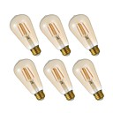 abordables Intermitentes para Coche-GMY® 6pcs 4.5W 320lm E26 Bombillas de Filamento LED ST19 4 Cuentas LED COB Regulable Bombilla Edison Decorativa Luz LED Blanco Cálido