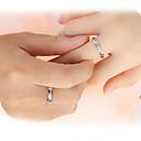 baratos Anéis-Casal Anéis de Casal Anel de banda - Prata de Lei, Zircão Amor Casamento Ajustável Prata Para Casamento Festa Presente / 2pcs