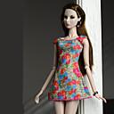 hesapli Barbie Bebek Kıyafetleri-Elbiseler Elbiseler İçin Barbie Bebek Turuncu kırmızı Poli/Pamuk Elbise İçin Kız Oyuncak bebek