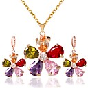 cheap Necklaces-Women's Cubic Zirconia Jewelry Set - Zircon Flower Classic, Fashion Include Hoop Earrings Necklace Gold For Daily