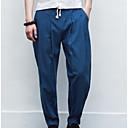 hesapli Kolyeler-Erkek Sportif / Çin Stili Yüksek Bel Keten İnce Eşoğman Altı Pantolon Solid
