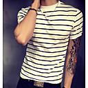 billige Headset og hovedtelefoner-Rund hals Tynd Herre - Stribet Bomuld, Trykt mønster Basale T-shirt Rød XXXL / Kortærmet / Sommer / Lang