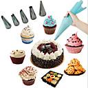 ieftine Ustensile de Fructe & Legume-silicon de glazură pungă cremă de patiserie cu 6pcs duza de oțel inoxidabil seturi de tort DIY decorare instrument de coacere bakeware