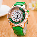 저렴한 악세사리-여성용 석영 플로팅 크리스탈 시계 중국어 캐쥬얼 시계 가죽 밴드 컬러풀 패션 블랙 화이트 블루 레드 브라운 그린 로즈