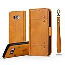 Недорогие Чехлы и кейсы для Galaxy S3-Кейс для Назначение SSamsung Galaxy S8 Plus / S8 / S7 edge Кошелек / Бумажник для карт / Флип Чехол Однотонный Твердый Настоящая кожа