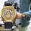hesapli LED Araba Ampulleri-Erkek Kadın's Elbise Saat Bilek Saati Japonca Quartz Kronograf Derin Oyma Yaratıcı Deri Bant Analog Lüks Siyah / Kahverengi - Kahverengi Altın Kahverengi Altın / Siyah Bir yıl Pil Ömrü
