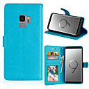 رخيصةأون أغطية أيفون-غطاء من أجل Samsung Galaxy S9 / S9 Plus محفظة / حامل البطاقات / مع حامل غطاء كامل للجسم لون سادة قاسي جلد PU