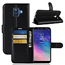 cheap Galaxy S Series Cases / Covers-Case For Samsung Galaxy A6+ (2018) / A6 (2018) Wallet / Card Holder / Flip Full Body Cases Solid Colored Hard PU Leather for A6 (2018) /