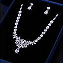 cheap Bakeware-Women's Cubic Zirconia Jewelry Set - Leaf Fashion, Elegant Include Drop Earrings Pendant Necklace White For Wedding Party