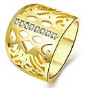 billige Mode Halskæde-Dame Kvadratisk Zirconium filigran Band Ring Guldbelagt Blomst Damer Mode Moderinge Smykker Guld / Hvid / Rose Guld Til Gave Daglig 7 / 8