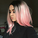 cheap Makeup & Nail Care-Synthetic Wig Straight Kardashian Style Bob Capless Wig Black Grey Pink Green Synthetic Hair Women's Middle Part Bob / Ombre Hair / Dark Roots Black Wig Short