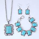preiswerte Ohrringe-Damen Dicke Kette Schmuck-Set - Harz Retro, Europäisch, Modisch Einschließen Halskette Ohrring Armband Blau Für Normal