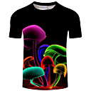 billige LED-T-shirts-Rund hals Herre - Regnbue / Dyr Trykt mønster Basale / overdrevet Natklub Plusstørrelser T-shirt Sort XXXXL / Kortærmet / Sommer