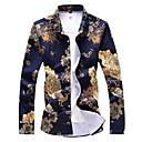 رخيصةأون قمصان رجالي-رجالي ترف / أساسي طباعة قياس كبير - قطن قميص, ورد / حيوان ياقة مفرودة نحيل / كم طويل / الربيع / الخريف