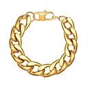 זול צמיד-בגדי ריקוד גברים שרשרת עבה שרשרת וצמידים - פלדת על חלד יצירתי טרנדי, אופנתי צמידים זהב / שחור / כסף עבור מתנה יומי