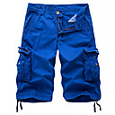 abordables Shorts-Hombre Chic de Calle / Militar Noche Chinos / Shorts / Pantalones tipo cargo Pantalones - Un Color Gris Oscuro Gris Caqui 34 36 38