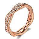povoljno Prstenje-Žene Sa stilom Laso Band Ring Prsten Platinum Plated Pozlata od crvenog zlata Imitacija dijamanta krafne Val dame pomodan Moda Bling Bling Modno prstenje Jewelry Pink / Rose Gold Za Vjenčanje Dnevno