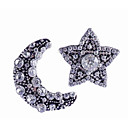 cheap Home Decoration-Women's Stud Earrings Mismatched Moon Star Ladies Stylish Classic Rhinestone Earrings Jewelry Silver For Daily 1 Pair