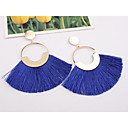 cheap Bathroom Gadgets-Women's Drop Earrings fan earrings Hanging Earrings Tassel Ladies European Fashion Elegant Oversized Earrings Jewelry Wine / Light Blue / Dark Green For Party Street 1 Pair