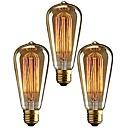 Χαμηλού Κόστους Λαμπτήρες πυράκτωσης-3pcs 40 W E26 / E27 ST64 Θερμό Λευκό 2200-2700 k Ρετρό / Με ροοστάτη / Διακοσμητικό Λαμπτήρας πυρακτώσεως Vintage Edison 220-240 V