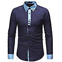 رخيصةأون ملصقات ديكور-رجالي عمل قطن قميص, ألوان متناوبة نحيل / كم طويل