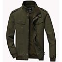 cheap Bike Lights-Men's Daily Street chic Fall & Winter Plus Size Regular Jacket, Contemporary Stand Long Sleeve Polyester Green / Black / Khaki 4XL / XXXXXL / XXXXXXL / Loose