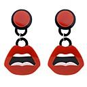 저렴한 팔찌-여성용 열대의 드랍 귀걸이 귀걸이 입술 숙녀 베이직 패션 보석류 레드 제품 일상 데이트 1 쌍