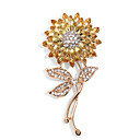cheap Brooches-Women's Crystal Layered Brooches - Gold Plated Sunflower Stylish Brooch Gold For Street