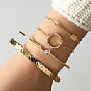 abordables Bracelet-4pcs Chaînes Bracelets Bracelet Jonc Parure Bracelet Femme Classique Zircon Arrow dames Artistique Original Mode Bracelet Bijoux Dorée pour Quotidien Plein Air