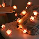 tanie Taśmy świetlne LED-3 M Łańcuchy świetlne 20 Diody LED Różowy Dekoracyjna Zasilanie bateriami AA 1 zestaw
