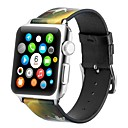 رخيصةأون خواتم-جلد أصلي حزام حزام إلى Apple Watch Series 4/3/2/1 أسود / الأصفر 23CM / 9 بوصة 2.1cm / 0.83 Inches