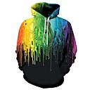 رخيصةأون مشدات-رجالي أساسي قياس كبير فضفاض بنطلون - 3D طباعة التقزح اللوني / مع قبعة / كم طويل / الخريف / الشتاء