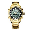 رخيصةأون ساعات الرجال-رجالي ساعة رياضية ساعة رقمية ياباني كوارتز ياباني ستانلس ستيل أسود / ذهبي 30 m مقاوم للماء رزنامه قضية تناظري-رقمي موضة - أسود ذهبي