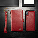 رخيصةأون Huawei أغطية / كفرات-غطاء من أجل Apple iPhone XS / iPhone X محفظة / حامل البطاقات / مع حامل غطاء كامل للجسم لون سادة قاسي جلد PU