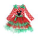 ieftine Benzi Lumină LED-Rochii Crăciun Dress Santa Clothe Pentru copii Fete Rochii Crăciun Crăciun An Nou Festival / Sărbătoare Poliester Roșu-aprins Costume de Carnaval Dantelă Crăciun