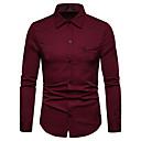 رخيصةأون قمصان رجالي-رجالي عمل الأعمال التجارية / أساسي طباعة قميص, لون سادة / كم طويل