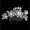 זול תכשיטים לשיער-כל העונות כסף לבוש ראש פרחוני דמוי פנינה אבן נוצצת סגסוגת / Leaf Shape